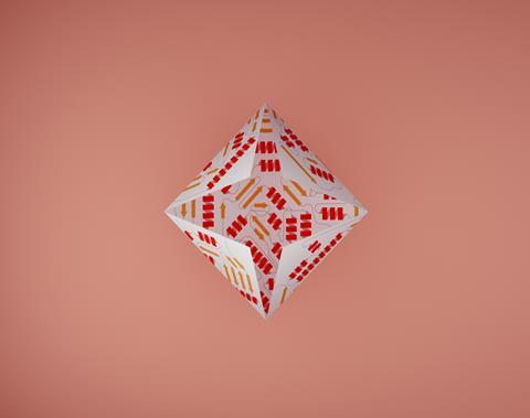 0418CW - Protein folding feature - Partially-folded protein origami illustration concept