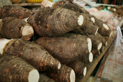 Yam on local market counter