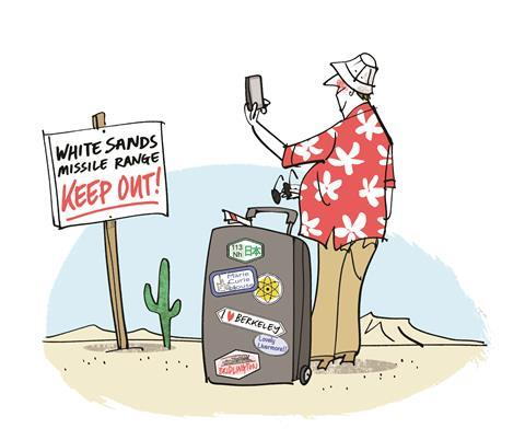 An illustration of a tourist at White Sands missile range