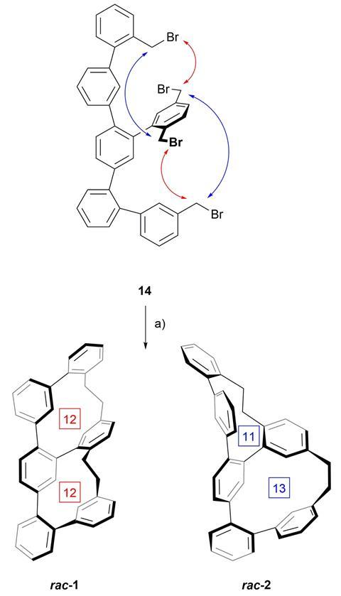 Synthesis of the two structural isomers 1 and 2 by twofold macro-cyclisation