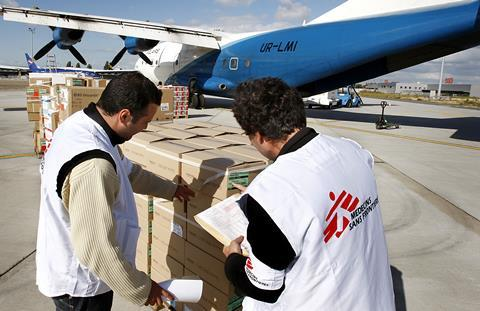Medecins Sans Frontieres logistic center, in Bordeaux loading plane with food and medicine for Africa