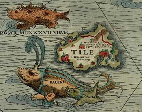The mythical island of Thule on the Carta Marina, 1539