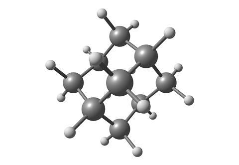 Ball and stick structure of adamantane