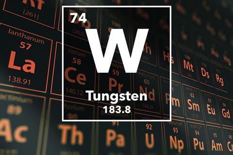 Periodic table of the elements – 74 – Tungsten