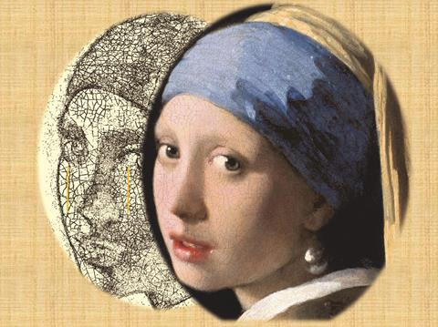 Crack cell networks on the Girl with a Pearl Earring by J. Vermeer
