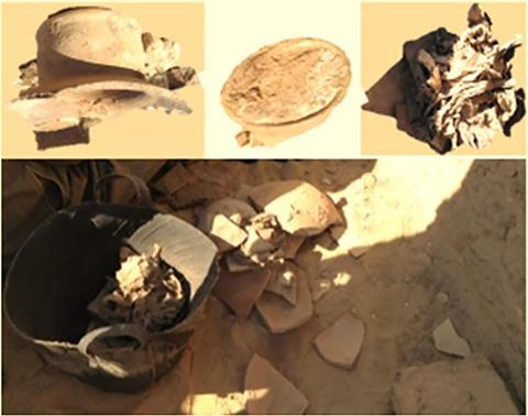 Jar and canvas discovered inside the tomb of Ptahmes, Mayor of Memphis during the XIX dynasty (photos by the authors).
