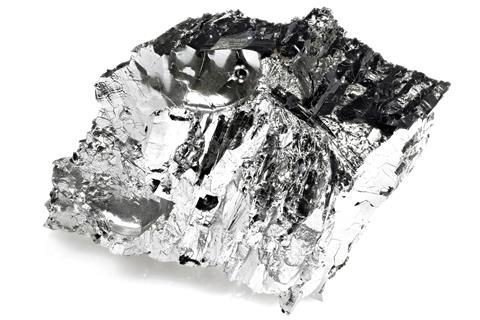 A sample of tellurium against a white background