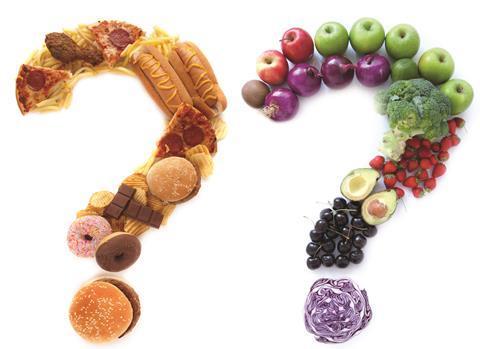 Healthy versus unhealthy food question marks