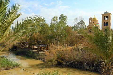 The Jordan River border between Israel and Jordan