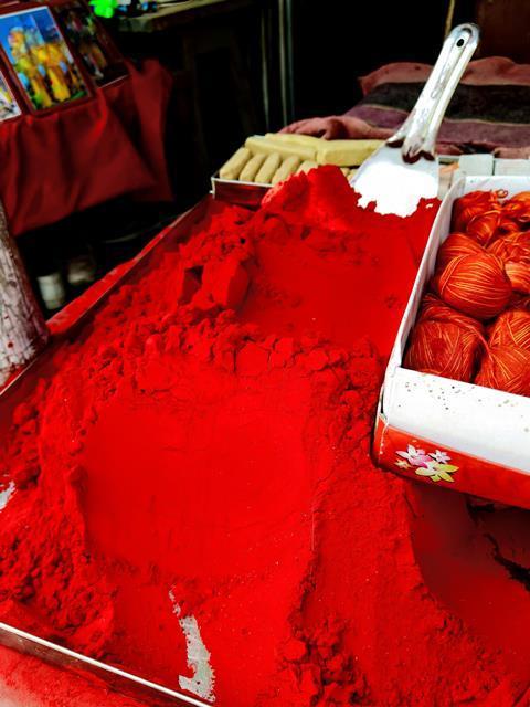 Red, maroon powder of vermilion