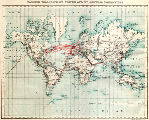 World map showing telegraph cable routes in 1901