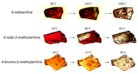 A picture showing thermochromic phase transitions to colourless salts