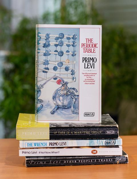 An image showing a stack of books written by Primo Levi