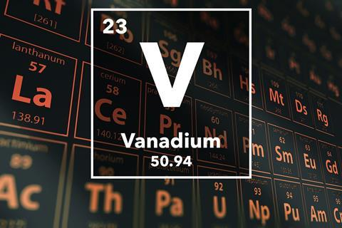 Periodic table of the elements – 23 – Vanadium