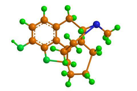 Molecular structure of Desomorphine (Permonid)