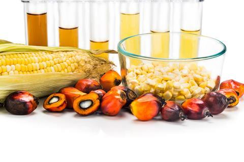 Maize and oil palm-derived oil in test tubes