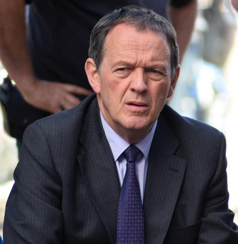Kevin Whately as Inspector Lewis during filming of Lewis in Broad Street, Oxford, August 2015.