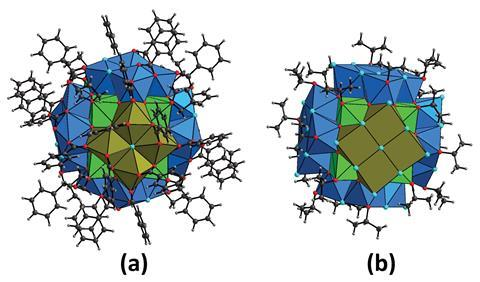 Molecular structures of the two {Np38} clusters Np38O56Cl18(bz)24(THF)8 (1, a) and Np38O56Cl42(ipa)20