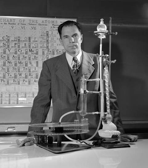 Glenn Seaborg in the lab