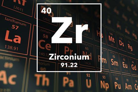 Periodic table of the elements – 40 – Zirconium