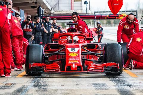 Sebastian Vettel (Germany) making a pitstop in the Scuderia Ferrari SF71H F1 2018 car during the F1 winter testing in March at Circuit de Barcelona-Catalunya.