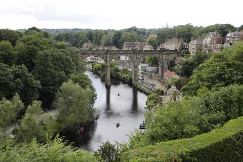 View of the River Nidd from the ruins of Knaresborough Castle, Knaresborogh, North Yorkshire, England. UK.