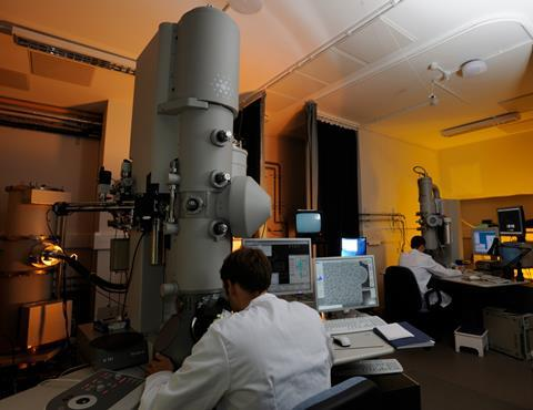 Transmission electron microscopes in the LMB EM room