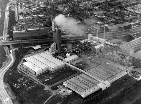 ICI's 312ft high Nitram plant in Billingham, UK, picture taken in 1972