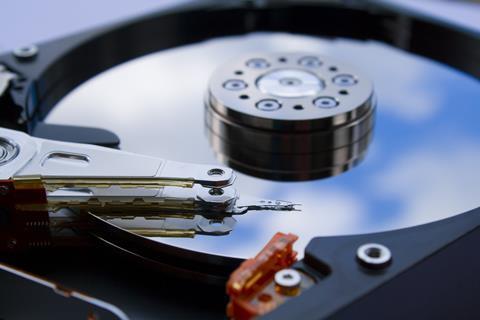 Close up of a computer hard drive