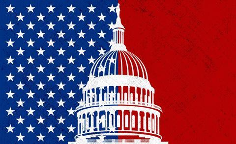 US flag and Capitol building illustration