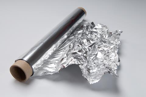 A photograph of a roll of aluminium foil