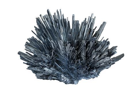 A photograph of a stibnite specimen