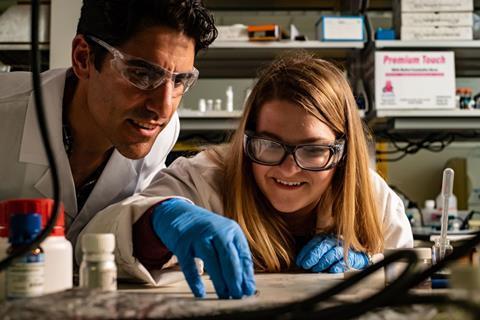 A picture of Rice University materials scientist Rafael Verduzco and graduate student Morgan Barne