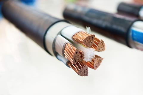 A cross-section of a copper cable
