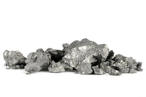 A sample of holmium isolated on a white background