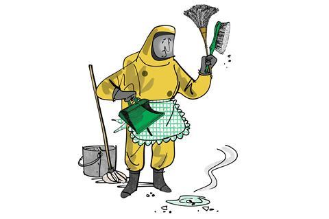 An illustration of a person wearing a hazardous materials suit
