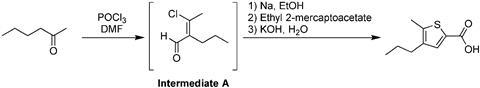 5-methyl-4-propylthiophene-2-carboxylic acid from 2-hexanone