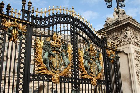 Close up shots of the gold detailing on the Buckingham Palace fence