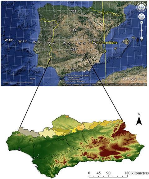 A map showing the study area: Sierra Morena - Spain