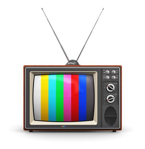 old retro color wooden home TV receiver set with antenna isolated on white background