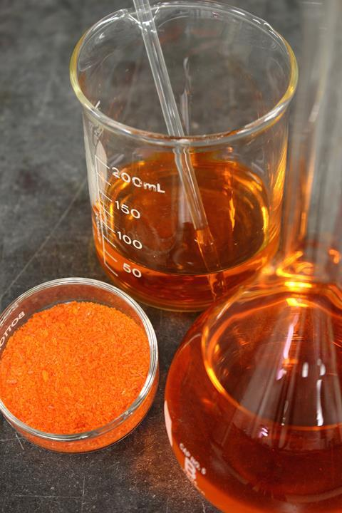 Preparing a solution from the salt of sodium dichromate