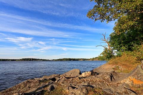 Sea shore in town of Vaxholm on the Vaxholm island - within the Stockholm region, Sweden