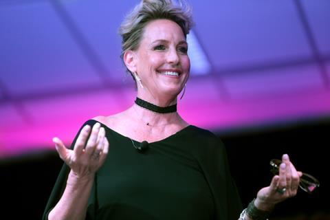 Erin Brockovich speaking at the 2016 Arizona Ultimate Women's Expo at the Phoenix Convention Center in Phoenix, Arizona.