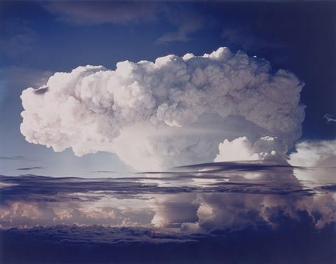 A photograph of a mushroom cloud following a hydrogen bomb explosion
