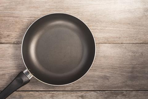 A photograph of a non-stick frying pan