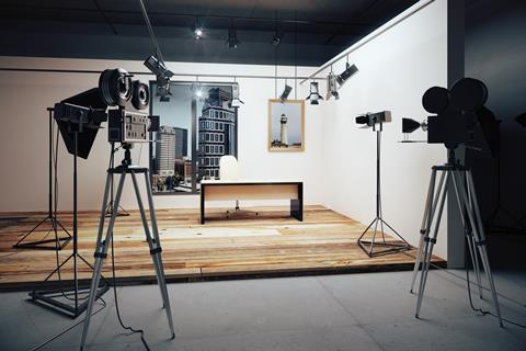 A set up of lighting and film