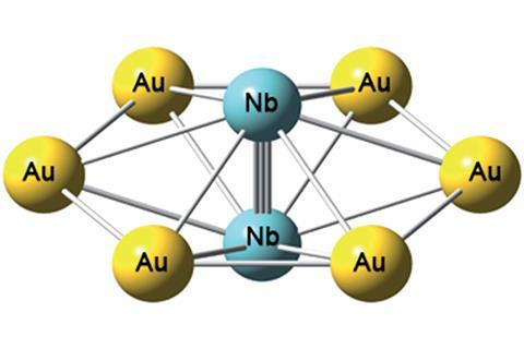 Niobium-gold compound showing the niobium triple bond