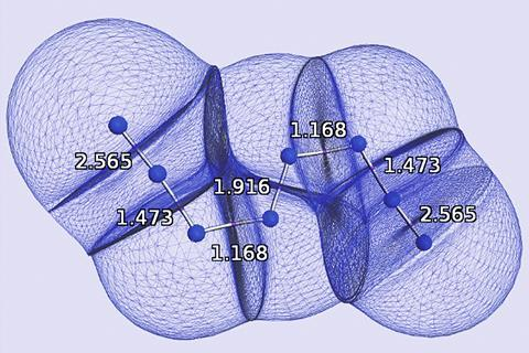 Quantum atoms appearing in the N8 molecule.