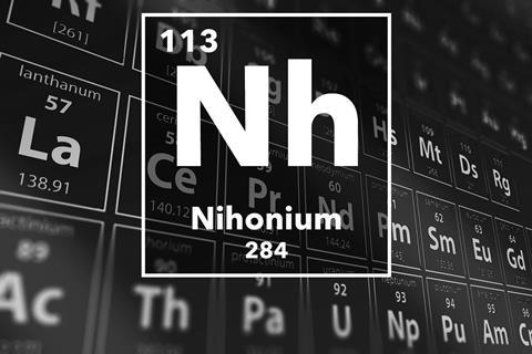 Periodic table of the elements – 113 – Nihonium