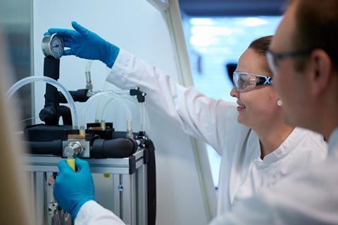 Siiri in the nanoform lab